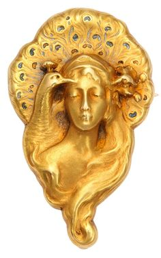"ART NOUVEAU GOLD PEACOCK LADY BROOCH, by Edmond-Henri Becker and Paul Richard. 18k gold, its reverse with double hooks for use as a necklace and shepherd""s hook to suspend pendant. Marked P. Richard & E. Becker. #ArtNouveau #RichardBecker #pendant #brooch"