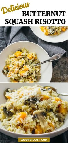 This is a fast, simple, and easy risotto recipe with butternut squash, mushrooms, and garlic. It is a convenient meal where everything is cooked in a single pan. Vegetarian and gluten free.