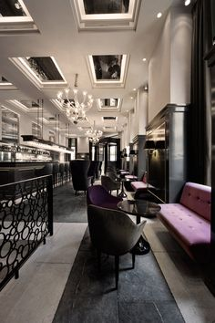 Balthazar Champagne Bar by SPACE Copenhagen, Copenhagen hotels and restaurants amazing decor Modern Restaurant, Luxury Restaurant, Restaurant Interior Design, Restaurant Lighting, Restaurant Restaurant, Restaurant Furniture, Vintage Interior Design, Luxury Interior Design, Interior Architecture
