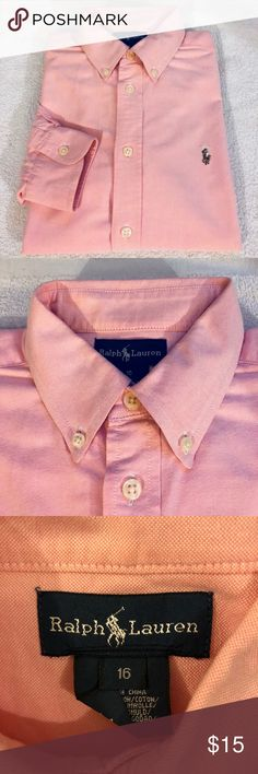 Polo Ralph Lauren Pink Oxford Shirt Size 16 BOYS Polo Ralph Lauren Solid Pink Oxford Long Sleeve Shirt size 16 BOYS! Like new! Please make reasonable offers and bundle! Ask questions! Polo by Ralph Lauren Shirts & Tops Button Down Shirts