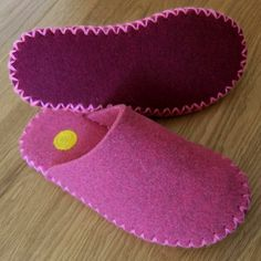 A completely hand stitched wool felt slipper with needle-felted trim. Made here at Joe's Toes HQWool Felt slipper - handsewn in a choice of 8 colours - handmade in Yorkshire by Joe's Toes Sewing Slippers, Pink Slippers, Felted Slippers, Womens Slippers, Sewing Tutorials, Sewing Projects, Shoe Pattern, Crochet Shoes, Doll Shoes