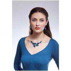 Laurel Deep Blue Leaf Silvered Resin and Steel Fashion Necklace