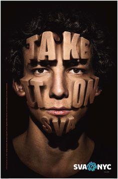 Stefan Sagmeister - SVA NYC - Take it on SVA facial graphics design.  http://blog.sva.edu/wp-content/uploads/2013/09/face725-700x1067.jpg