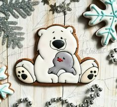 No photo description available. Christmas Sweets, Christmas Animals, Christmas Goodies, Christmas Baking, Christmas Crafts, Bear Cookies, Cookies For Kids, Cute Cookies, No Bake Cookies