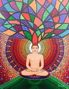 May Lord Mahavir bless you with knowledge and wisdom on the auspicious occasion of Mahavir Jayanti :) Mandala Art Lesson, Mandala Artwork, Mandala Painting, Oil Pastel Drawings, Art Drawings, Cute Doodle Art, Graffiti Wall Art, Deer Art, Dot Art Painting