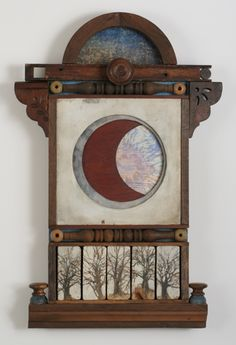 """Moonrise"", mixed media collage, (assemblage) by Leslie McCallen Gilbert"