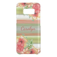 Custom Coral Red Lime Green Watercolor Floral Uncommon Samsung Galaxy S8 Case - modern gifts cyo gift ideas personalize