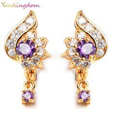Yunkingdom Accesorios de Moda Joyería de La Vendimia de la Marca púrpura de Cristal Pendientes de Aro Para Las Mujeres K1286