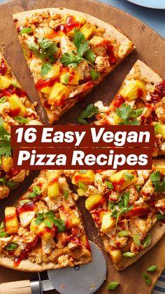 Vegan Pizza Recipe, Pizza Recipes, Veggie Recipes, Whole Food Recipes, Vegan Meal Prep, Vegan Vegetarian, Vegetarian Recipes, Healthy Recipes, Vegan Meals
