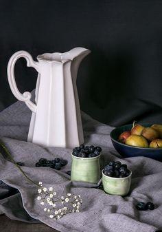 Still Life - White Jug & Fruit #StillLife #Photography #Productphotography #Grey #Vintage