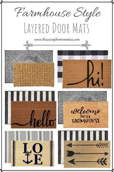 Layered Door Mats-Farmhouse Style – The Scoop for Mommies – farmhouse front door with screen Front Door Rugs, Front Door With Screen, Front Door Decor, Front Porch, Porch Doors, Door Entry, Entrance, Porch Mat, Houses