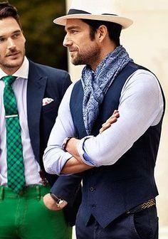 麦わら帽子×ジレ×シャツの着こなし(メンズ)   Italy Web