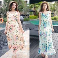 Women Fashion Casual Chiffon Round Neck Sleeveless Elastic High Waist Butterfly Print Long Beach Tank Dress