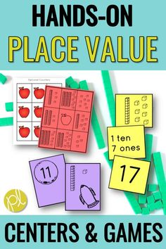 Place Value for First Grade - this huge place value packet has hands-on tasks, centers, and games to support your first graders! These are perfect for Guided Math small groups and centers, plus there's printables and visual supports. From Positively Learning #placevalue #firstgrademath