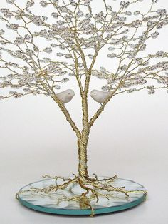 Love Birds Beaded Wire Tree Sculpture Wedding Cake by CassandraZ, $75.00