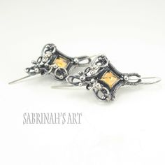 """""""Empyrean Citrine"""" and Fine and Sterling Silver Wire Wrapped Earrings by Sabrinah Renee"""