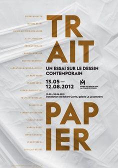 """Affiche de l'exposition """"Trait papier"""" Musée des beaux-arts La Chaux-de-Fonds, 2012"""