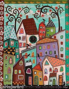 Afternoon-ORIGINAL-CANVAS-PAINTING-Folk-Art-Birds-Cats-Houses-Clock-Karla-G