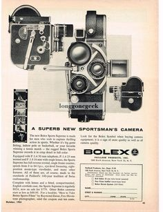 1954 Bolex H-16 Sports Supreme 8mm Movie Camera Vtg Print Ad | eBay
