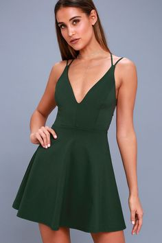 c02a8ac2e9 The Believe in Love Forest Green Backless Skater Dress will make a romantic  out of you