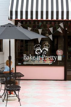 Bake it Pretty | Asheville, NC #pink #black #white #awning #bakery #outdoor #dining #shop #window #sign