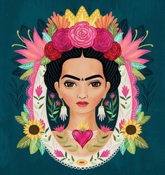 Another Frida piece. 🌹 I love seeing my progress on these portraits. I'm just loving my and of course my muse. Frida Kahlo Artwork, Kahlo Paintings, Frida Art, Frida Kahlo Cartoon, Diego Rivera, Arte Popular, Mexican Folk Art, Beauty Art, Oeuvre D'art