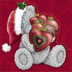 Tatty Teddy With Heart Baubles Me to You Bear Christmas Card £2.09