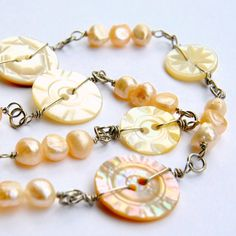 Button Necklace Carved Antique Button Jewelry Victorian 1800s Peach Pearls