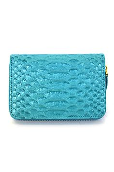 Genuine Leather Small Wallet Blue Snake