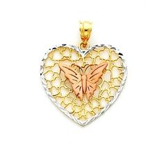 14kt Tricolor solid Gold Butterfly Heart Pendant with diamond cut edges. Measures 1 1/8 x 7/8. Made to order, Free shipping.