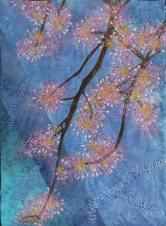 Appelbloesem (apple blossom) art quilt by Rita Dijkstra-Hesselink (The Netherlands).  2015.