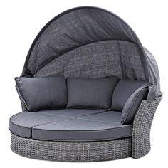 Tuinhemelbed / lounge ligbed rond - grijze kussens