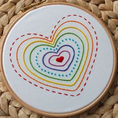Rainbow Heart DIY embroidery kit Staring to stock up some more rainbow heart hand embroidery kit❤️ Simple Embroidery Designs, Diy Embroidery Kit, Embroidery Hearts, Embroidery Stitches Tutorial, Embroidery Flowers Pattern, Learn Embroidery, Modern Embroidery, Embroidery For Beginners, Ribbon Embroidery
