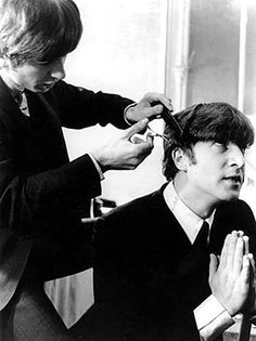Photo by Astrid Kirchherr - Google Search  John in Prayer while getting his famous hair-do