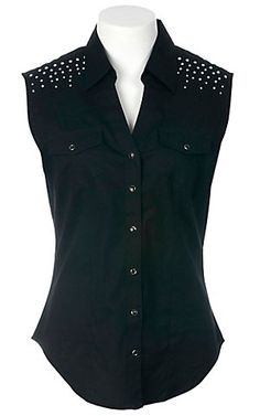 Cumberland Outfitters® Ladies Black with Rhinestones Sleeveless Western Shirt | Cavender's Boot City