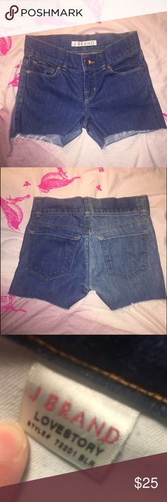 """J Brand """"love story"""" cut off shorts J Brand """"love story"""" style jeans that I made into shorts. I left the length a little longer to cuff the bottom if I wanted. Perfect condition otherwise. Button closure w/ additional inside button. Worn once or twice, like new. Perfect condition for cut offs. For measurements please comment. J Brand Shorts Jean Shorts"""