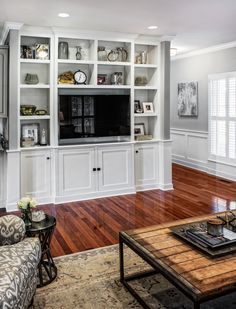 Built-in bookcases/ entertainment unit/ shelves. Family room inspiration.