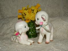 Two Vintage Lefton Easter Lambs