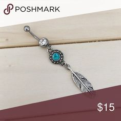 Boho Feather Belly Button Ring Brand New! 14 Gauge Surgical Steel. Ships within 1-3 days Check out my all my items!  Thanks for looking ☺️ If you have any questions leave a comment below   Belly Button Ring Navel Piercing 14G Surgical Steel Body Jewelry New Jewelry