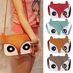 Cute retro owl fox shoulder messenger hand bag