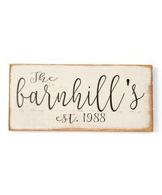 This Cream Script Family Name & Year Personalized Wood Sign is perfect! #zulilyfinds