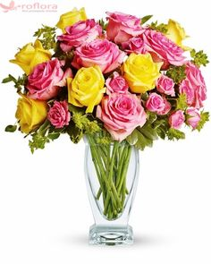 Pink lemonade, anyone? This stunning bouquet of pink and yellow roses adds an instant smile to anyone's face - especially when they notice the gorgeous Couture Vase they get to keep using for years to come! Order Flowers, Flowers Online, All Flowers, Amazing Flowers, Spring Flowers, Send Flowers, Thank You Flowers, Mothers Day Flowers, Yellow Roses