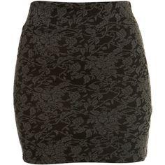 Black Jacquard Tube Skirt (£18) found on Polyvore