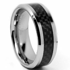 8MM Men's Tungsten Carbide Ring Wedding Band W/ Carbon Fiber Inaly size 15, (tungsten, mens rings, tungsten carbide)