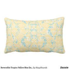 Reversible Tropics Yellow Blue Damask Lumbar Pillow