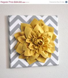 """MOTHERS DAY SALE Wall Flower -Mellow Yellow Dahlia on Gray and White Chevron 12 x12"""" Canvas Wall Art- 3D Felt Flower"""