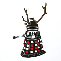 Doctor Who Dalek Christmas Holiday Letterpress Cards - Set of 6 - Snowman, Santa, Reindeer