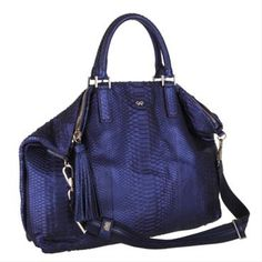 Anya Hindmarch Huxley Python Tote in Navy
