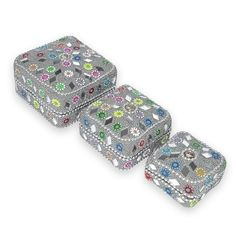 Silver Color Square Jewelry Box Set of 3: Amazon.co.uk: Kitchen & Home
