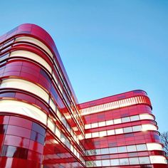 Blood Center by FAAB Architektura in Raciborz, Poland Different Shades Of Red, Brand Architecture, Red Design, Medical Center, Golden Gate Bridge, Poland, Blood, Fair Grounds, Exterior